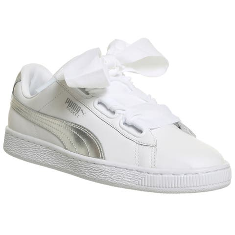 2f792108a222 PUMA Womens Basket Heart Explosive Leather Low Top Lace Up Fashion Sneakers