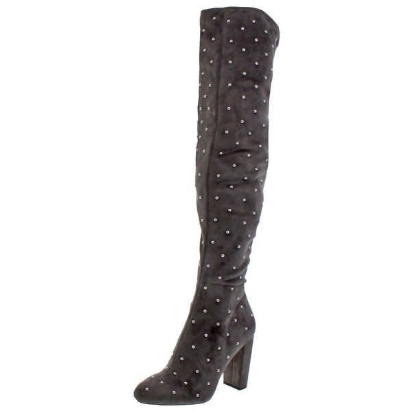 25a3e748373 Jessica Simpson Womens Bressy Over-The-Knee Boots Studded Microsuede