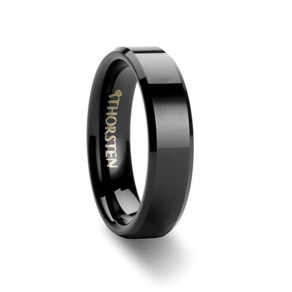 THORSTEN - VIENNA Beveled Black Tungsten Band - 6mm