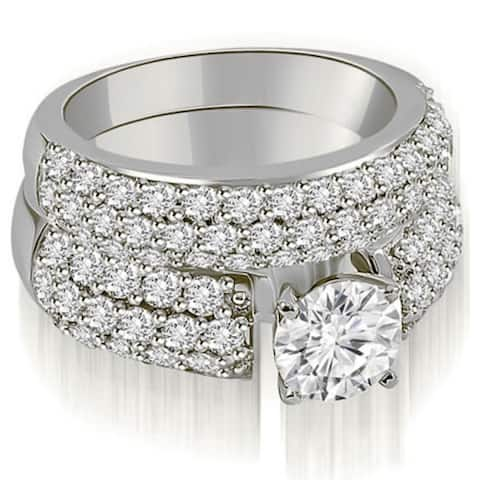 2.80 CT Three-Row Prong Set Round Cut Diamond Bridal Set in 14KT Gold - White H-I