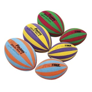 Sportime UltraFoam 4-1/2 in Dia x 7-1/4 in L Striped Footballs, Set of 3