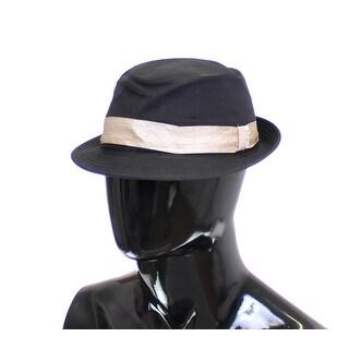Dolce & Gabbana Black Cotton Logo Fedora Trilby Hat