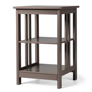 Costway 3-tier Side Table Nightstand  Sofa End Table W/ Baffles and