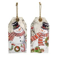 Set of 6 White and Red Christmas Decorative Snowman Tag Ornaments 15.5""