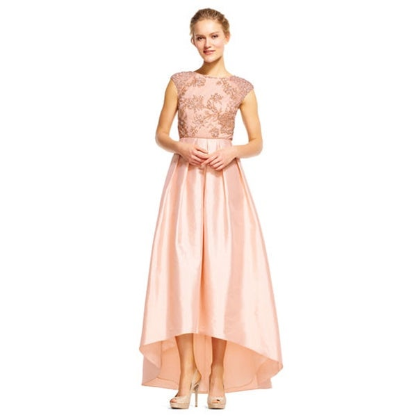 Adrianna Papell High Low Taffeta Ball Gown with Floral Beading ...