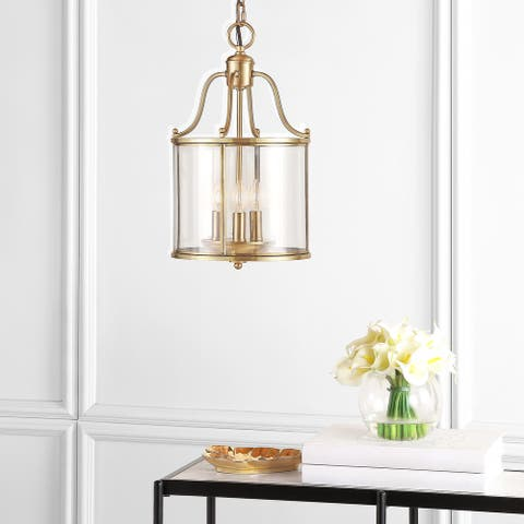 "SAFAVIEH Lighting 10-inch Adjustable 3-Light Sutton Place Small Brass Pendant Lamp - 9.875 "" x 9.875"" x 18.5 - 90.5"""