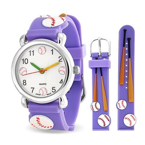 Baseball Bat Sports Waterproof Wrist Watch Time Teacher Quartz 3D Cartoon Purple Silicone Wristband Round White Dial