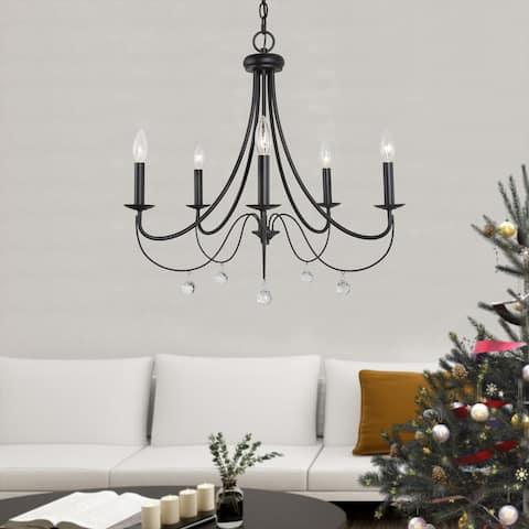 "Mid-Century Modern Crystal Chandeliers Black Metal Chandelier Pendant Lighting for Dining Room - D 24.5"" x H 21.6"""
