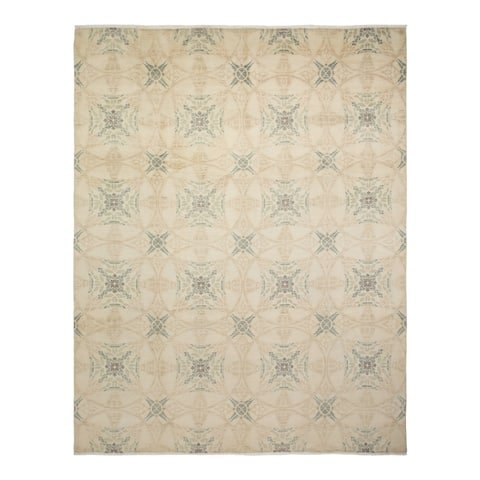 """Suzani, One-of-a-Kind Hand-Knotted Area Rug - Ivory, 7' 10"""" x 10' 1"""" - 7' 10"""" x 10' 1"""""""