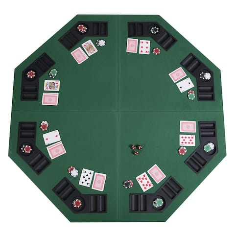"""Costway 48"""" Green Octagon 8 Player Four Fold Folding Poker Table Top &"""