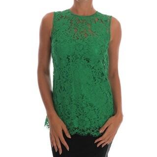 Dolce & Gabbana Dolce & Gabbana Green Floral Lace Top Blouse