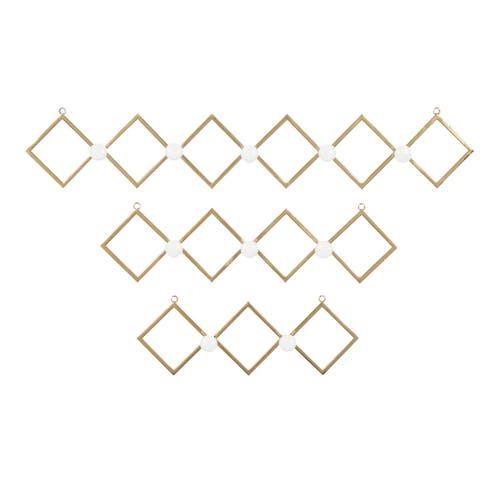 Gold Metal Wall Hooks With Round White Knobs, Set Of 3 - 33 x 3 x 6