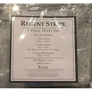 Regent Stripe 300 Thread Count 100% Cotton Print Sheet Set