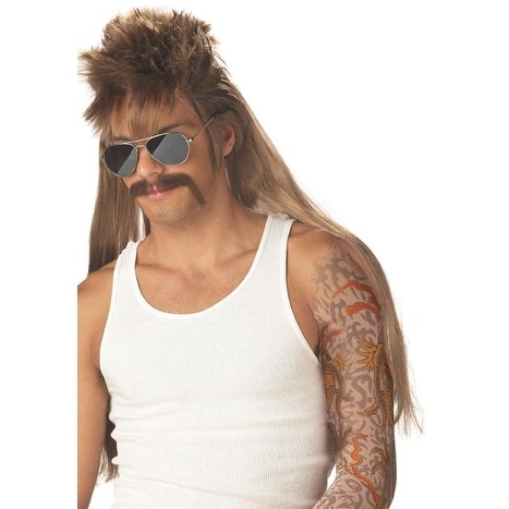 Mississippi Mud Flap Costume Wig & Moustache - Brown