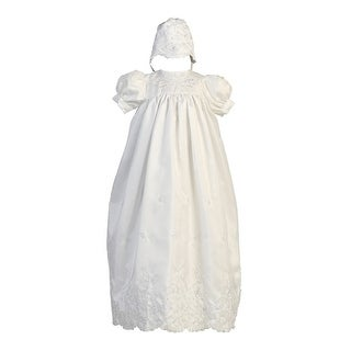 Baby Girls White Embroidered Shantung Christening Bonnet Long Gown 3-18M