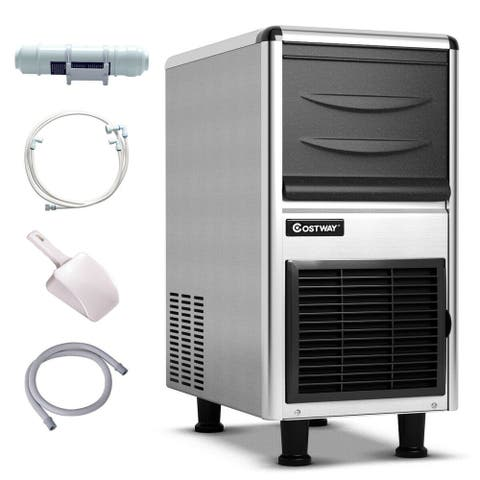 Costway Stainless Steel Commercial Ice Maker 110lbs/24h Freestanding Restaurant Bar - as pic