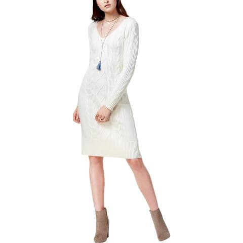 JOA Womens Juniors Sweaterdress Wool Knee-Length