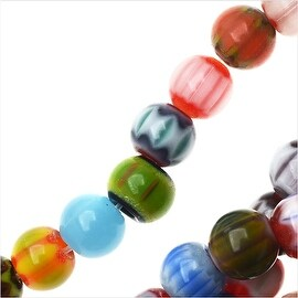 Millefiori Assorted Glass Simulated Beads, Round 6mm, 16 Inch Strand, Assorted
