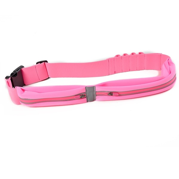 Image Running Fitness Belt w/ Large Pocket Dual Pouch Bag Water Resistant Reflective
