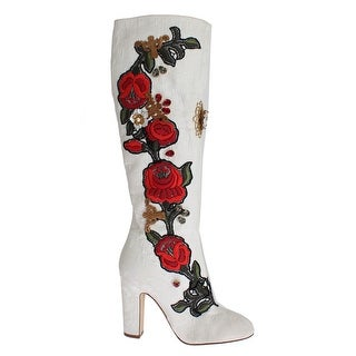 Dolce & Gabbana Roses Crystal Gold Heart Brocade Boots Shoes - 40