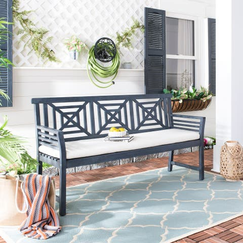 SAFAVIEH Outdoor Del Mar 3-Seat Bench with Cushion