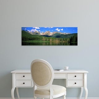 Easy Art Prints Panoramic Image 'Lake, mountain range, Sprague Lake, Rocky Mountain National Park, Colorado' Canvas Art