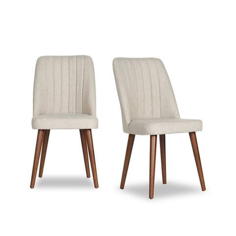 Julianna Mid-Century Modern Fabric Dining Chair in Beige (Set of 2)