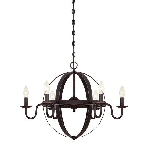 """Westinghouse 6303300 Brixton 6 Light 25"""" Wide Single Tier Candle Style Chandelier - Oil Rubbed bronze"""