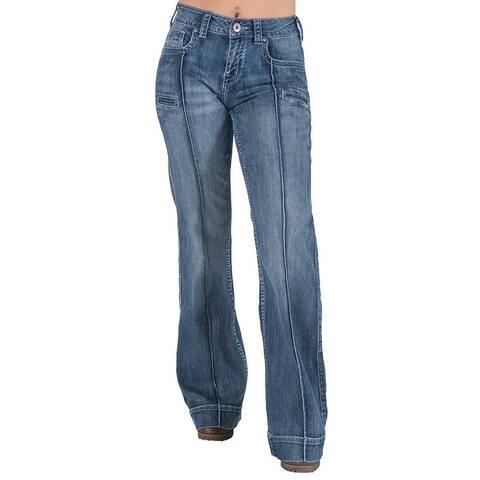 Cowgirl Tuff Western Jeans Womens Breathe Trouser Wide Leg Med