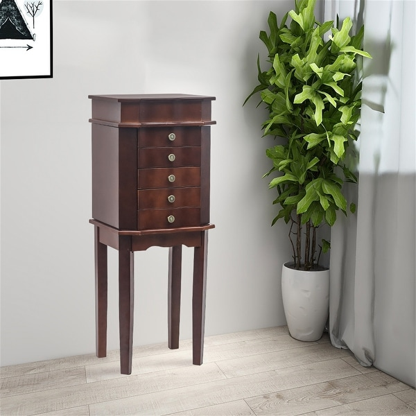 Standing Jewelry Armoire with Mirror, 5 Drawers & 6 Necklace Hooks. Opens flyout.