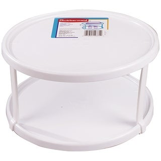Rubbermaid 2937-RD WHT Turntable, Double Deck, White,10-1/2""