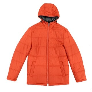 London Fog NEW Orange Mens Size Small S Full-Zip Quilted Puffer Coat