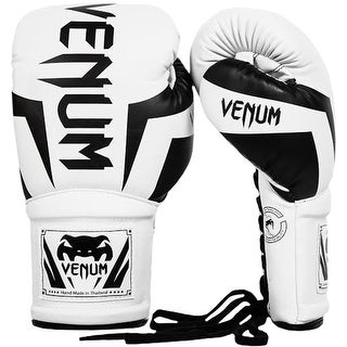 Venum Elite Long Cuff Attached Thumb Lace Up Boxing Gloves - White/Black