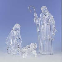 3-Piece Clear Religious Holy Family Christmas Nativity Figure Set 15.5""