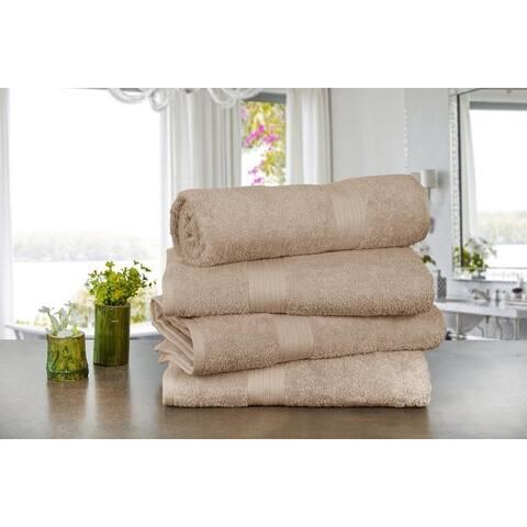 Ample Decor Ringspun Cotton Extra Absorbent Towels-4 Pcs Bath Towel - 30 x 54 Inch