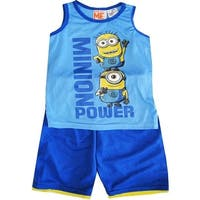 Minions Boys Sky Blue Sleeveless 2 Pcs Basketball Shorts Set 8-12