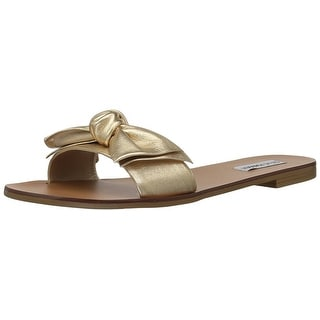 Steve Madden Womens Knotss Leather Open Toe Casual Slide Sandals (More  options available)