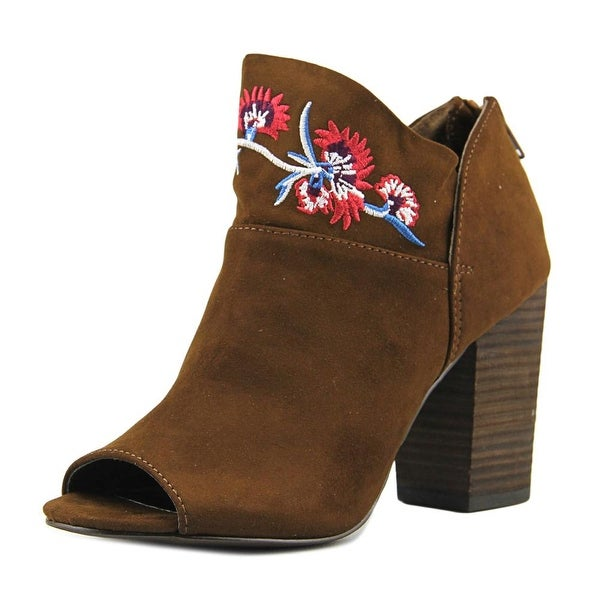 Carlos by Carlos Santana Jazlyn Women Peep-Toe Leather Tan Ankle Boot