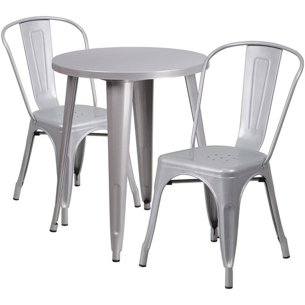 Rochelle Round 24'' Silver Metal Indoor-Outdoor Table Set w/2 Cafe Chairs for Restaurant/Bar/Pub/Patio
