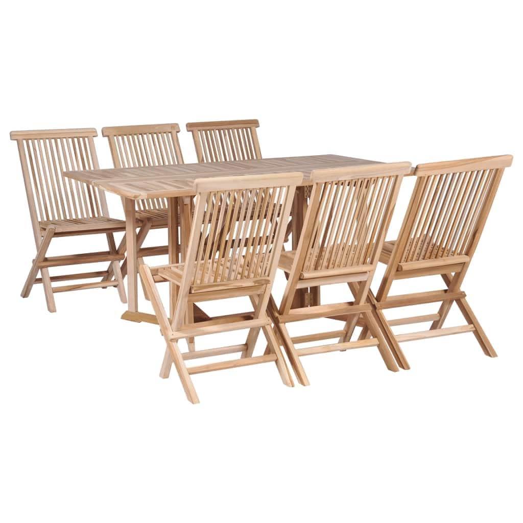 Picture of: Vidaxl 7 Piece Folding Outdoor Dining Set Solid Teak Wood Overstock 27316233