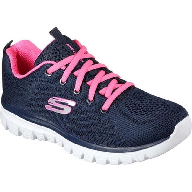 c315c369459a Shop Skechers Women s Graceful Get Connected Trainer Navy Hot Pink - Free  Shipping Today - Overstock - 17142699