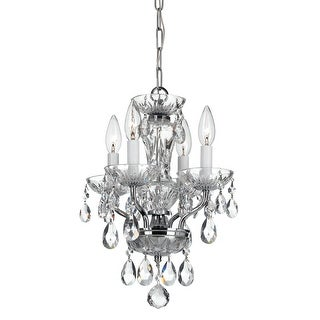 Link to Traditional 4 Light Italian Crystal Chrome Mini Chandelier - 11'' W x 15'' H Similar Items in Chandeliers