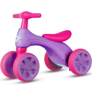Costway Baby Balance Bike No Pedal Bicycle Children Walker 4 Wheels w/ Sound & Storage - Purple