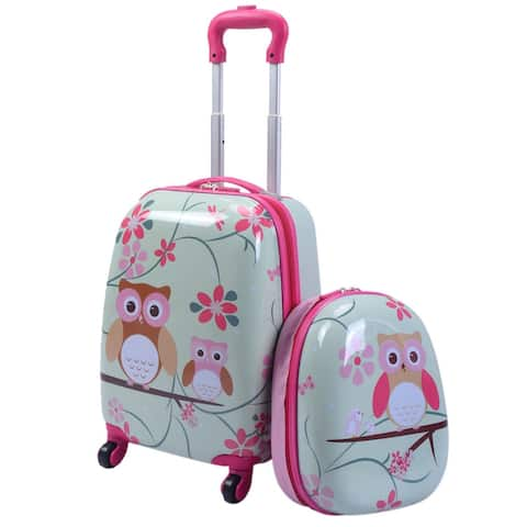 Costway 2Pc 12'' 16'' Kids Luggage Set Suitcase Backpack School Travel Trolley ABS - Pink