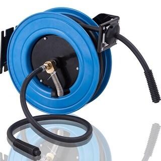 Costway 3/8'' X 25' Retractable Air Compressor Hose Reel 300PSI Auto Rewind Garage Tool