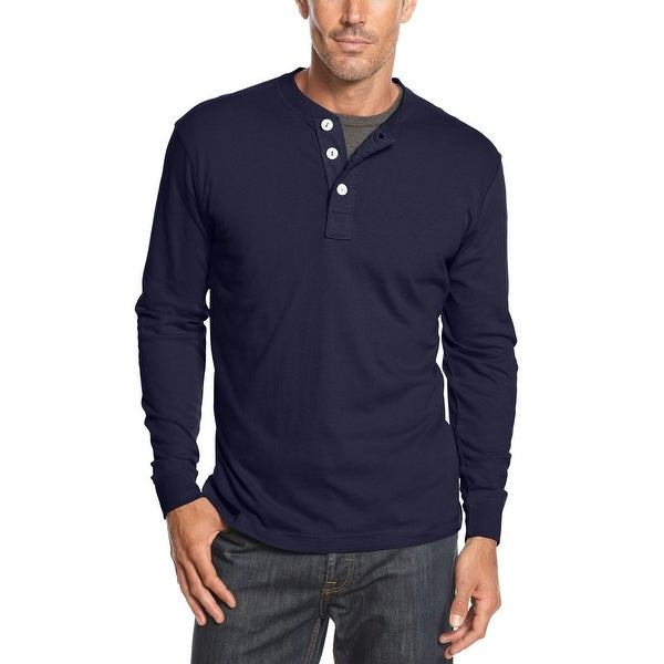 John Ashford Long Sleeve Cotton Henley Shirt Navy Blue