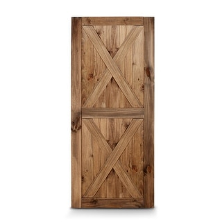 BELLEZE 36in x 84in Double X Sliding Barn Door Unfinished Solid Knotty Pine Wood Single Door Easy Assemble, Brown