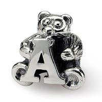 Sterling Silver Reflections Kids Letter A Bead (3.5mm Diameter Hole)
