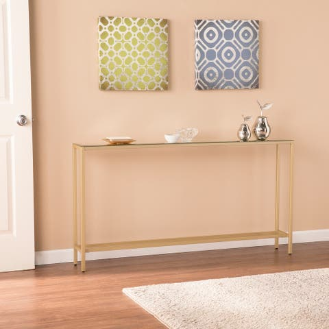 Silver Orchid Ham Long Narrow Console Table with Mirrored Top