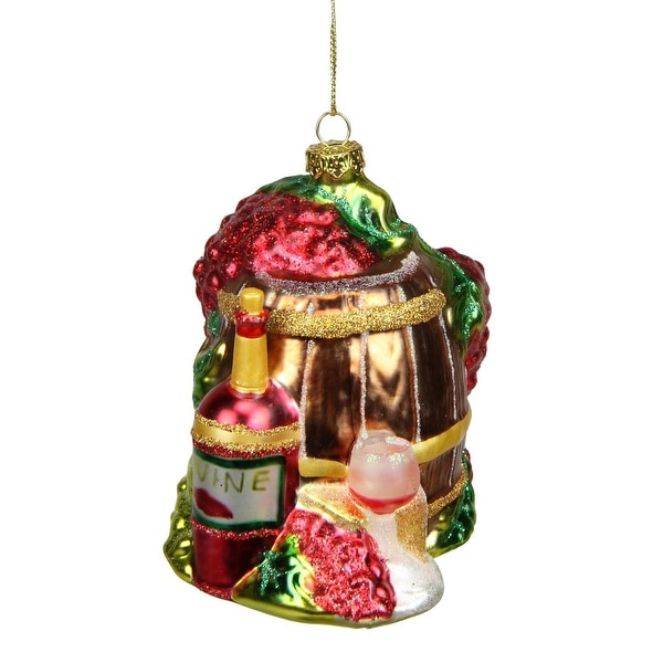 "4"" Tuscan Winery Red Wine Barrel Glass Christmas Ornament"